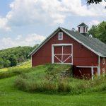Barn with grassy ramp
