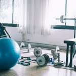 Exercise equipment in sunlit room